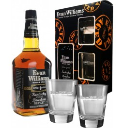 "Виски ""Evan Williams"" Extra Aged (Black), gift box with two glasses, 0.75 л"